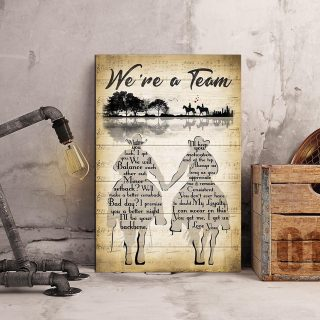 Couple Riding Horse We're A Team Guitar Tree 0.75 & 1.5 In Framed Canvas- Anniversary Gifts - Home Decor, Canvas Wall Art