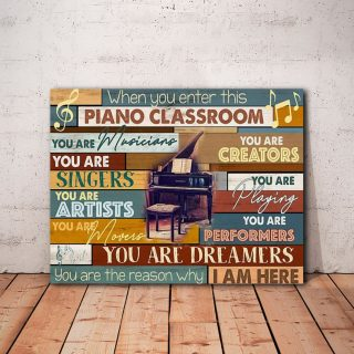 Pianist Piano Classroom Landscape 0.75 & 1.5 In Framed Canvas - Home Decor, Canvas Wall Art