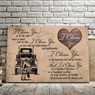 The Trucker – I Choose You To Do Life With Hand In Hand, Side By Side 0.75 & 1.5 In Framed Canvas - Wall Decor,Canvas Wall Art