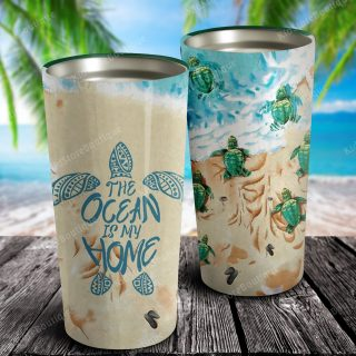 Turtle and Beach The Ocean Is My Home Stainless Steel Tumbler - Gift For Children- Travel Cup, Ideas Gifts