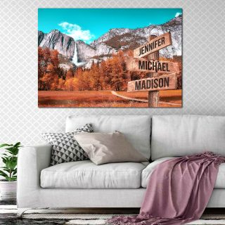 Personalized Autumn Mountain Color Multi-Names Canvas- Street Signs Customized With Names- 0.75 & 1.5 In Framed -Wall Decor, Canvas Wall Art