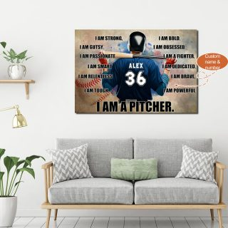 Personalized Baseball Player I Am Strong, Gutsy, Passionate, Smart, Relentless 0.75 & 1.5 In Framed Canvas - Home Decor, Canvas Wall Art