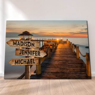 Personalized Sunset Dock Canvas -Street Signs Customized With Names - 0.75 & 1.5 In Framed -Wall Decor, Canvas Wall Art