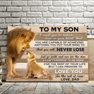 Giant Lion Dad and Lion Son To My Son I Love You For The Rest Of Mine 0.75 & 1.5 In Framed Canvas - Home Decor, Wall Art