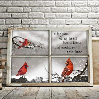 Cardinal Birds A Big Piece Of My Heart Lives In Heaven And Watches Over This Home 0.75 & 1.5 In Framed Canvas - Home Decor, Canvas Wall Art
