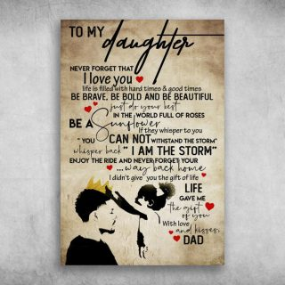 To My Daughter Life Gave Me The Gift Of You Love Dad Canvas- Gifts From Dad for Daughter - 0.75 & 1.5 In Framed -Wall Decor, Canvas Wall Art