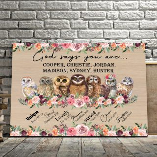 Owls God Says You Are Unique Special Horizonal Canvas Customized With Names- 0.75 & 1.5 In Framed -Wall Decor, Canvas Wall Art