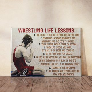 Wrestling Life Lessons Canvas -0.75 & 1.5 In Framed -Wall Decor, Canvas Wall Art