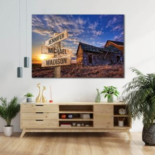 Home Barn and Sunset on The Field Multi-Names Canvas- Street Signs Customized With Names - 0.75 & 1.5 In Framed -Wall Decor, Canvas Wall Art