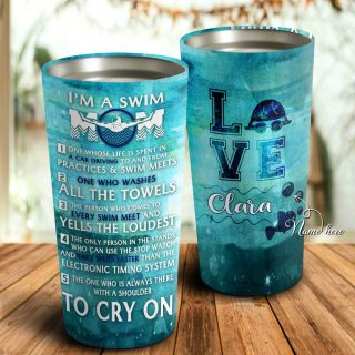 I'm A Swim Mom- All The Towels- Yells The Loudest To Cry On Personalized Tumbler- Mother's Day Gift, Mom Tumbler, Mom Cup, Best Mom Gift