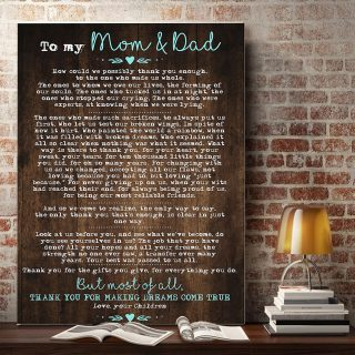 To My Mom And Dad How Could We Possibly Thank You Enough Canvas- 0.75 & 1.5 In Framed - Home Living- Wall Decor, Canvas Wall Art