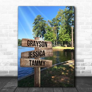 Personalized Lake Scene- Multi-Names Premium Canvas - Street Signs Customized With Names- 0.75 & 1.5 In Framed -Wall Decor, Canvas Wall Art
