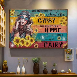 Hippie Girl Sunflower She Had The Soul Of A Gypsy Canvas - 0.75 & 1.5 In Framed -Wall Decor,Canvas Wall Art