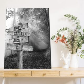 Personalized Black and White Forest Road Sunset 0.75 & 1.5 In Framed Canvas -Street Signs Customized With Names - Wall Decor,Canvas Wall Art