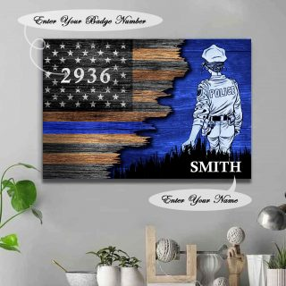 Female -Personalized Name Police Canvas- Best Gifts For Police -Half Flag Police Officer Suit Personalized Canvas- 0.75 & 1.5 In Framed