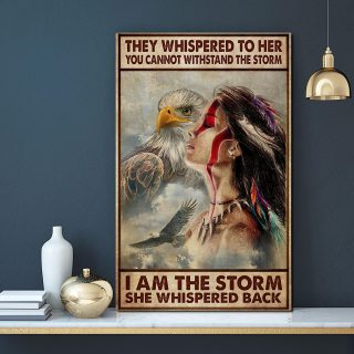 Taino Girl I Am The Storm She Whispered Back Vertical 0.75 & 1.5 In Framed Canvas - Gift Idea- Home Decor- Wall Art