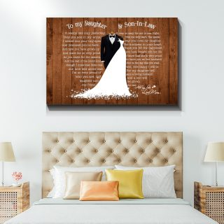 For My Daughter Will Gain A Loving Husband Daughter And Son In Law Canvas - Wedding Gifts- 0.75 & 1.5 In Framed -Wall Decor, Canvas Wall Art