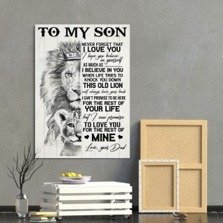 Lion To My Son Never Forget That I Love You This Old Lioness Canvas-Gifts For Son From Dad- 0.75 & 1.5 In Framed -Wall Decor,Canvas Wall Art