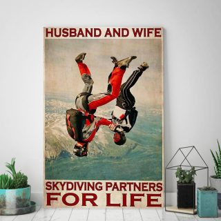 Husband And Wife Skydiving Partners For Life 0.75 & 1.5 In Framed Canvas- Gift Idea - Home Decor- Wall Art