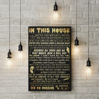 In This House Horror Movie Halloween 0.75 & 1.5 In Framed - Home Living - Wall Decor, Canvas Wall Art