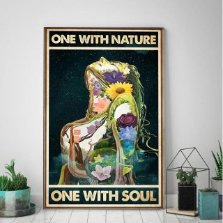 Natural Girl One With Nature One With Soul - 0.75 & 1.5 In Framed - Home Wall Decor, Wall Art