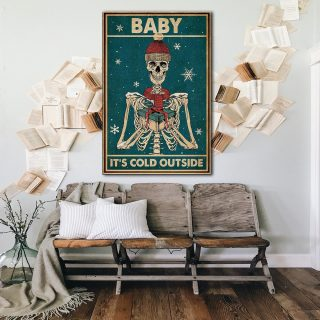 Christmas Baby It's Cold Outside Skeleton Canvas - 0.75 & 1.5 In Framed - Home Decor, Canvas Wall Art