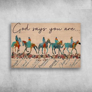 Horsenack Riding God Says You Are Unique Special Horizonal Canvas - 0.75 & 1.5 In Framed -Wall Decor, Canvas Wall Art