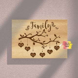 Personalized Family Tree Custom Names Canvas - Street Signs Customized With Names- 0.75 & 1.5 In Framed -Wall Decor, Canvas Wall Art