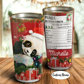 Personalized Peronalized Christmas Panda Tumbler -Best Christmas Gifts For Daughter or Son - Panda Lover Gifts- Travel Mug