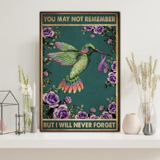 You May Remember But Will Never Forgot Hummingbird Canvas- 0.75 & 1.5 In Framed Canvas - Home Wall Decor, Wall Art