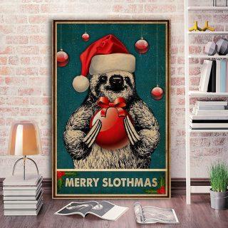 Merry Slothmas Sloth - Christmas Gifts Canvas Wall Art - 0.75 & 1.5 In Framed -Wall Decor, Canvas Wall Art