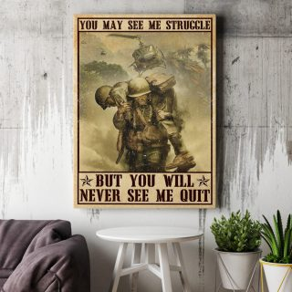 Veteran Gift You May See Me Struggle But You Will Never See Me Quit 0.75 & 1.5 In Framed Canvas - Home Living, Wall Decor, Canvas Wall Art