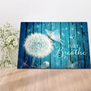 Vintage Just Breath Dandelion And Butterflies- From Heaven Canvas For Family Gift For Friend 0.75 & 1.5 In Framed Canvas - Canvas Wall Art