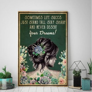 Succulent Sometimes Life Succs Just Stand Vertical Canvas- 0.75 & 1.5 In Framed - Home Decor, Canvas Wall Art