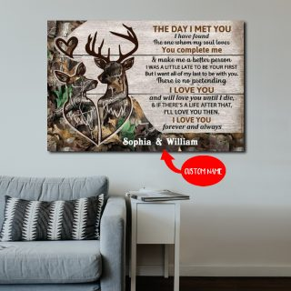 Personalized Deer The Day I Met You I Have Found The One Whom My Soul Loves 0.75 In & 1.5 In Framed Canvas- Home Decor, Canvas Wall Art