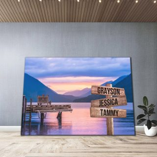 Scenic View Of Pier In Lake Crescent Canvas - Street Signs Customized With Names - 0.75& 1.5 In Framed -Wall Decor, Canvas Wall Art