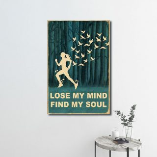 Vintage Running Girl Lose My Mind Find My Soul 0.75 & 1.5 In Framed Canvas - Home Living -Wall Decor, Canvas Wall Art