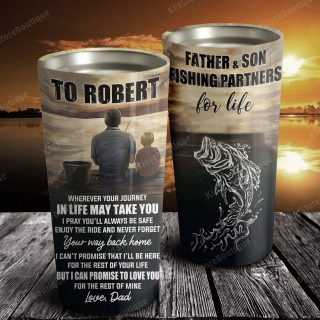 Personalized Father and Son Fishing Partners For Life Tumbler - Family Gifts- Gift for Son From Dad- Travel Mug