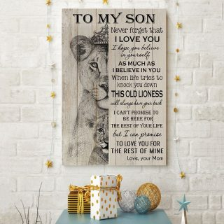 To My Son Never Forget That I Love You This Old Lioness Canvas - Gifts For Son - Gifts For Son- Canvas Wall Art
