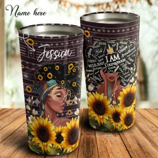 Personalized Afro Woman Sunflower African American I Am A Queenf Stainless Steel Tumbler - Gift For Her- Travel Cup, Ideas Gifts