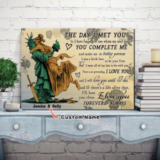 Custom Names Liberty And Justice The Day I Met You Horizontal 0.75 & 1.5 In Framed Canvas - Anniversary Gifts- Home Decor, Wall Art
