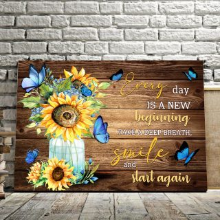 Every Day Is A New Beginning Best Gift For Sunflowers And Butterflies Lovers 0.75 and 1,5 Framed Canvas - FarmHome Decor - Wall Decor