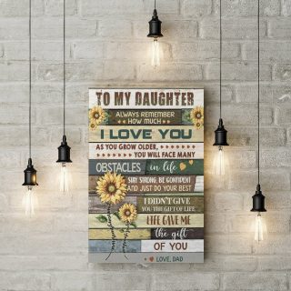 Sunflower To My Daughter From Dad Canvas - 0.75 & 1.5 In Framed Canvas - Wall Decor, Canvas Wall Art