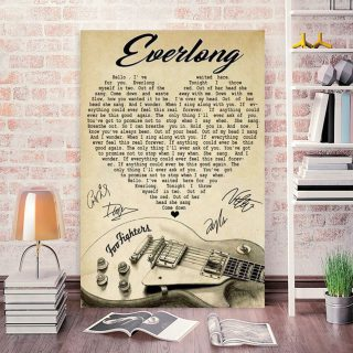 Everlong Lyrics With Heart Typography Guitar And Foo Fighters Autographs - 0.75 & 1.5 In Framed Canvas - Home Decor- Wall Art