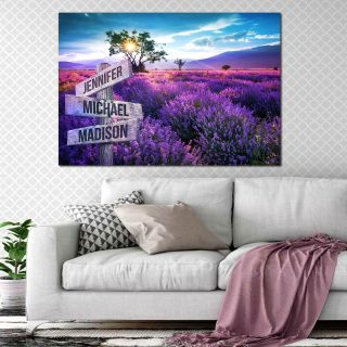 Personalized Lavender Field Color Premium Canvas- Street Signs Customized With Names- 0.75 & 1.5 In Framed -Wall Decor, Canvas Wall Art