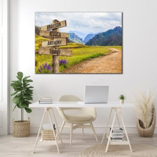 Personalized Mountain Multi-Names Premium Canvas -Street Signs Customized With Names- 0.75 & 1.5 In Framed -Wall Decor, Canvas Wall Art