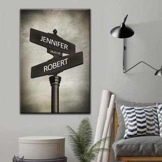 Street Signs Customized With Names And Anniversary Date Matte Canvas - Couple Canvas- Wall Decor, Canvas Wall Art