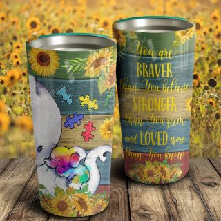 Baby Elephant Autism You Are Braver Than You Believe Stainless Steel Tumbler - Gift For Children- Travel Cup, Ideas Gifts