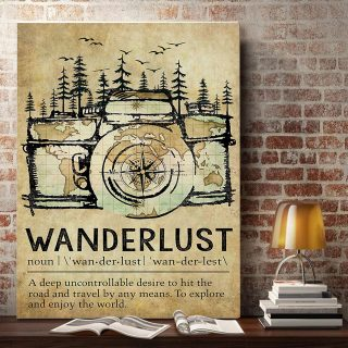 Wanderlust Explore And Enjoy The WorldCanvas- 0.75 & 1.5 In Framed - Home Decor, Canvas Wall Art