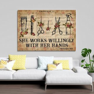 She Works Willingly With Her Hands-Barber Canvas- 0.75 & 1.5 In Framed - Home Living -Wall Decor, Canvas Wall Art